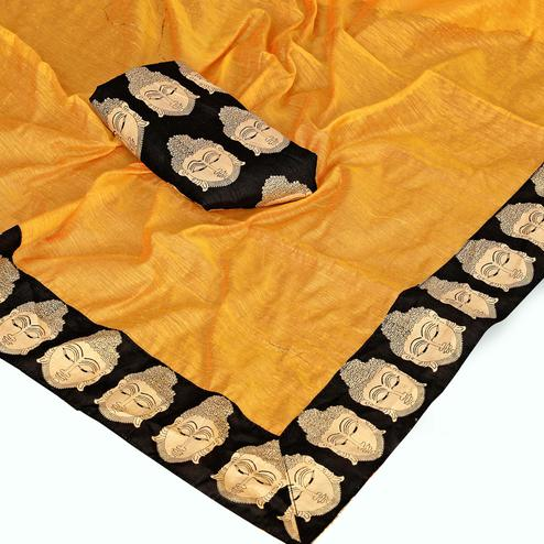 Glowing Yellow Colored Casual Wear Chanderi Silk Saree