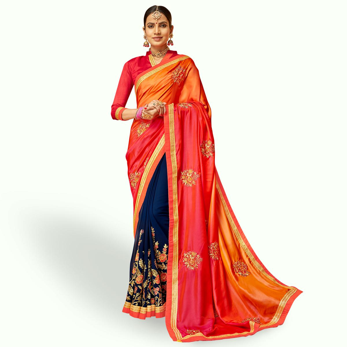 Adorning Navy Blue-Pink Colored Party Wear Embroidered Half & Half Saree