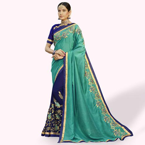 Appealing Turquoise Green-Navy Blue Colored Party Wear Embroidered Half & Half Saree