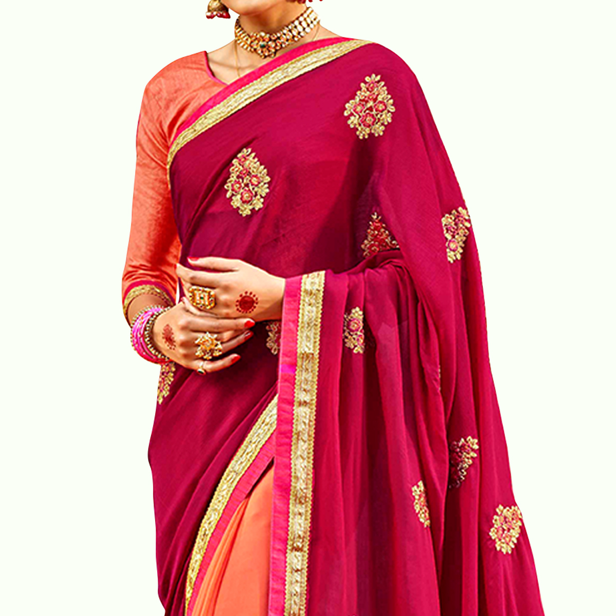 Capricious Rani Pink-Peach Colored Party Wear Embroidered Half & Half Saree