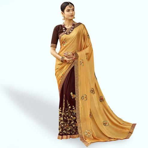 Captivating Golden-Coffee Brown Colored Party Wear Embroidered Half & Half Saree