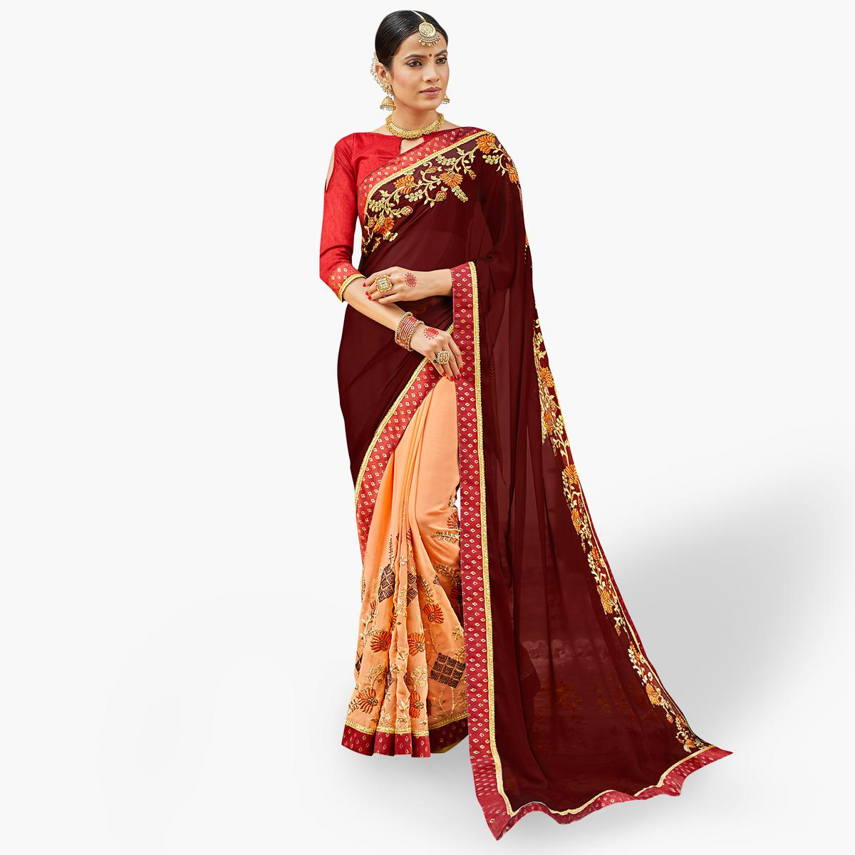 Groovy Brown-Peach Colored Party Wear Embroidered Half & Half Saree