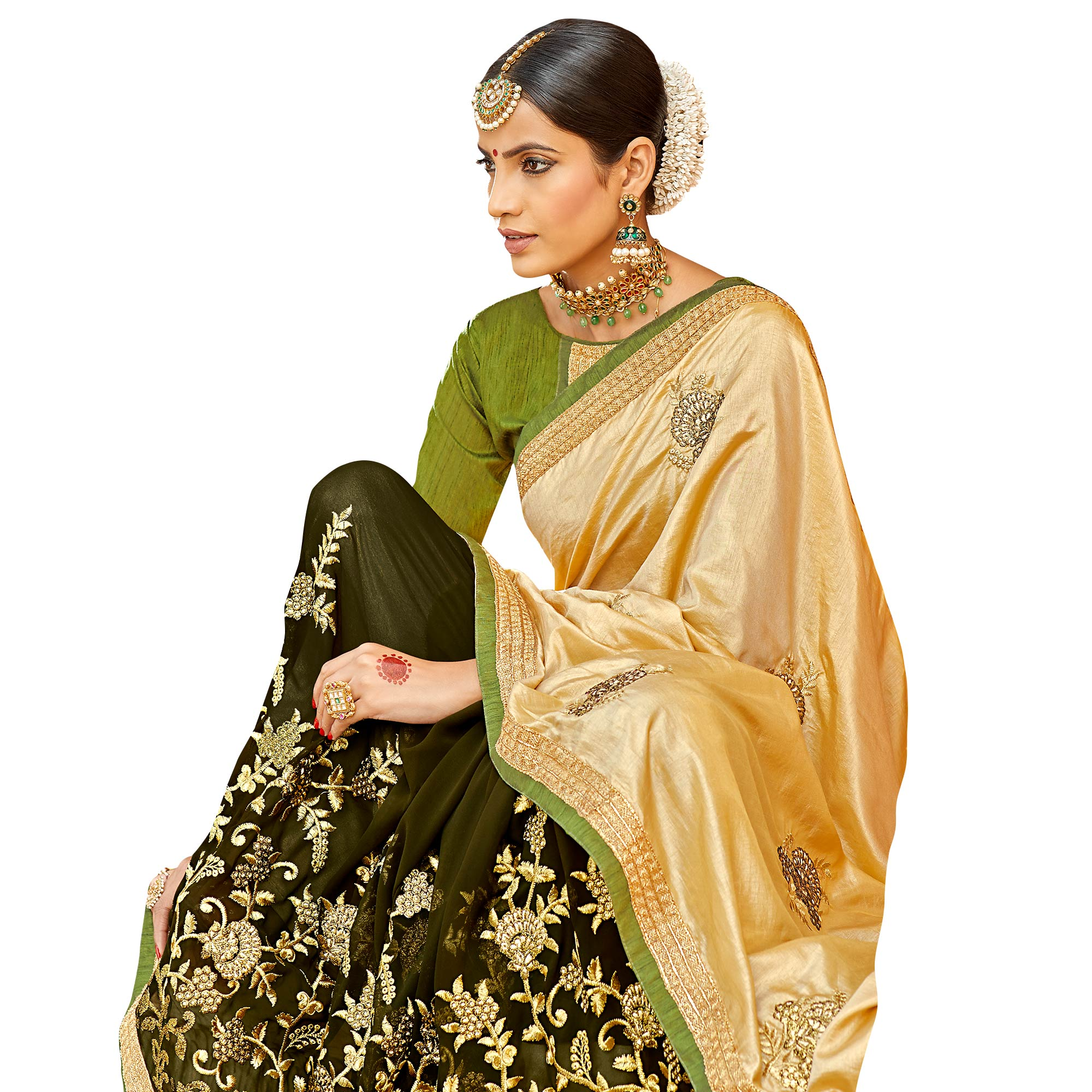 Prominent Golden-Dark Olive Green Colored Party Wear Embroidered Half & Half Saree