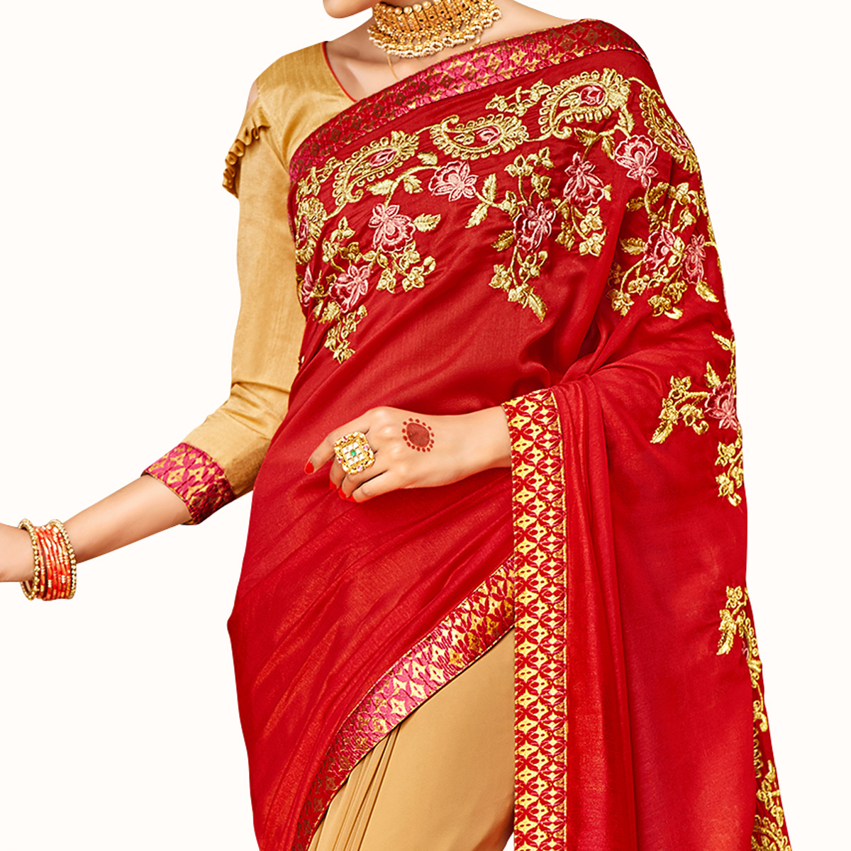 Entrancing Red-Beige Colored Party Wear Embroidered Half & Half Saree
