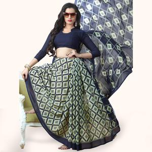 Adorable Blue-Light Green Colored Casual Printed Georgette Saree