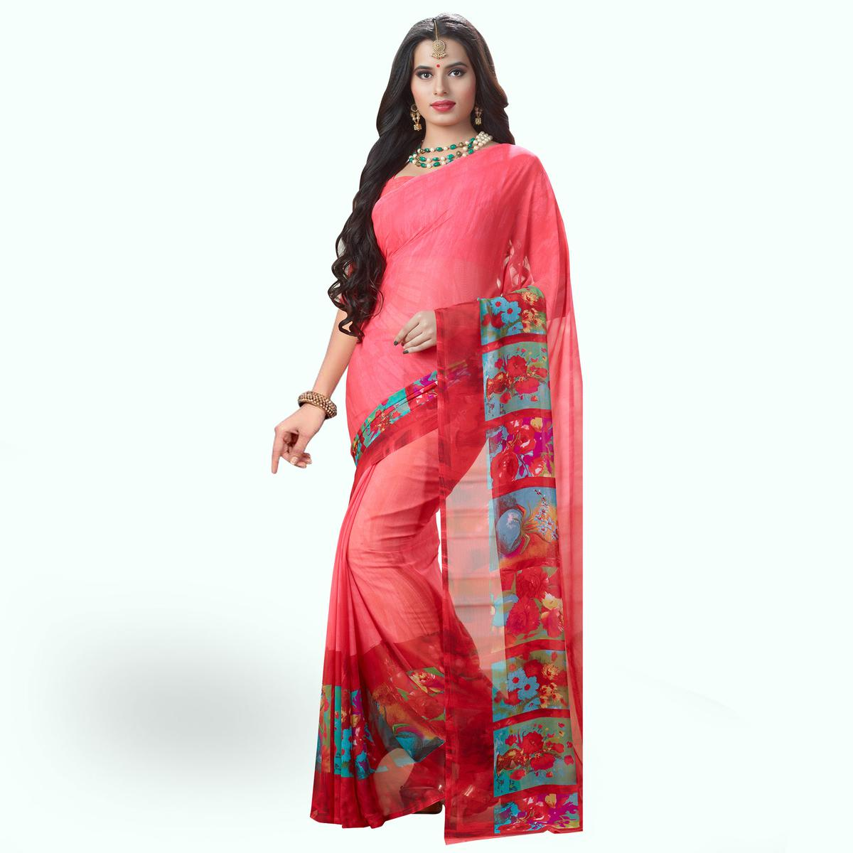 Beautiful Pink Colored Casual Printed Georgette Saree