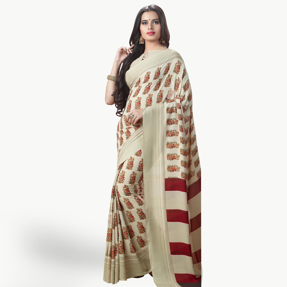 Blooming Off White Colored Casual Printed Georgette Saree