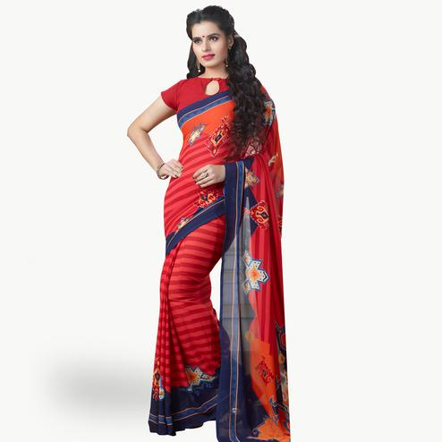 Classy Red Colored Casual Printed Georgette Saree