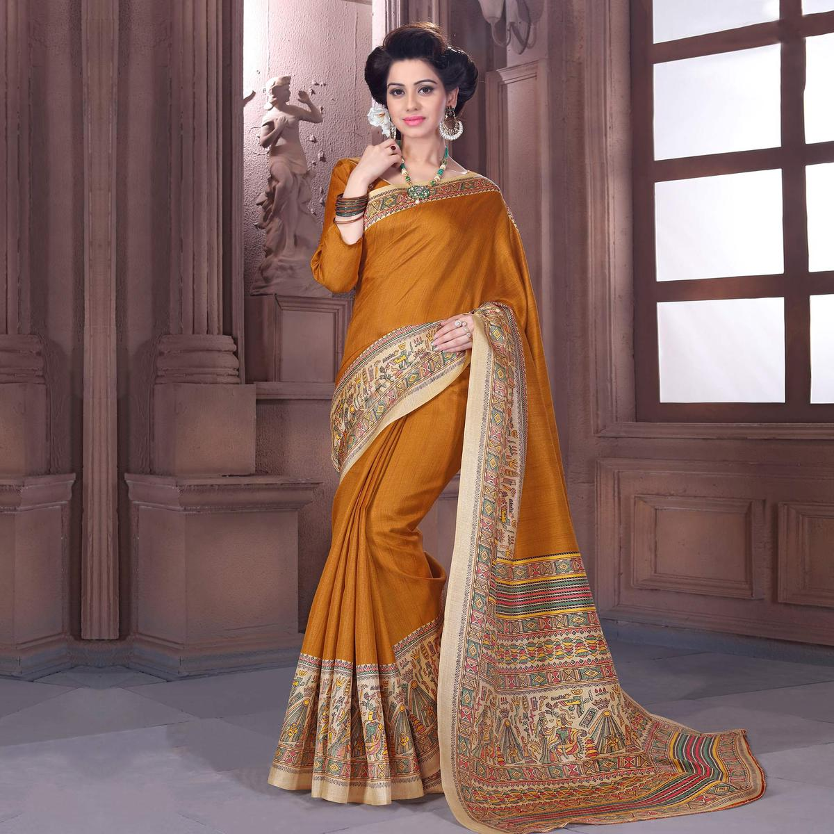 Yellow - Beige Printed Bhagalpuri Silk Saree