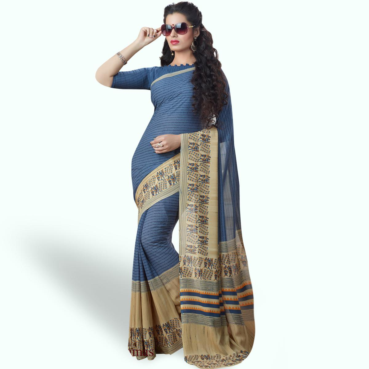 Delightful Blue Colored Casual Printed Georgette Saree