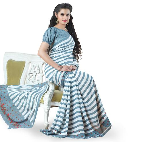 Engrossing White-Gray Colored Casual Printed Georgette Saree