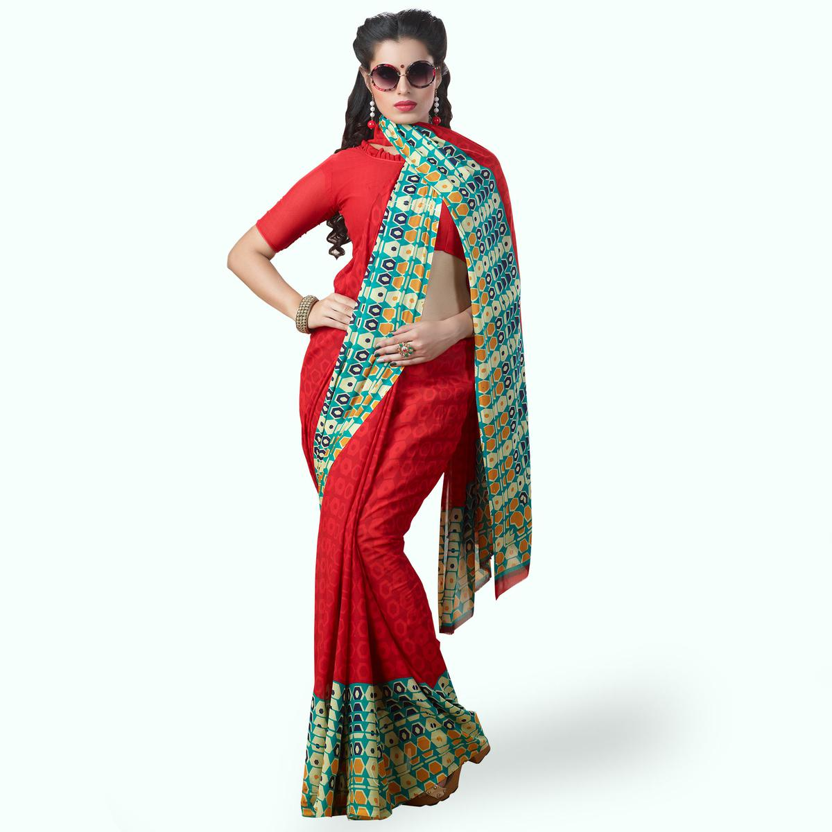 Entrancing Red Colored Casual Printed Georgette Saree