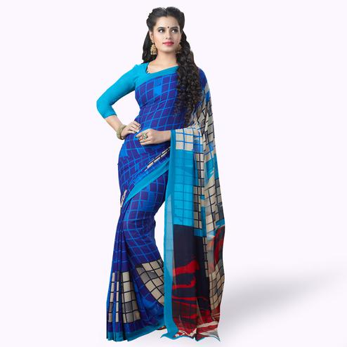Eye-Catching Blue Colored Casual Printed Georgette Saree