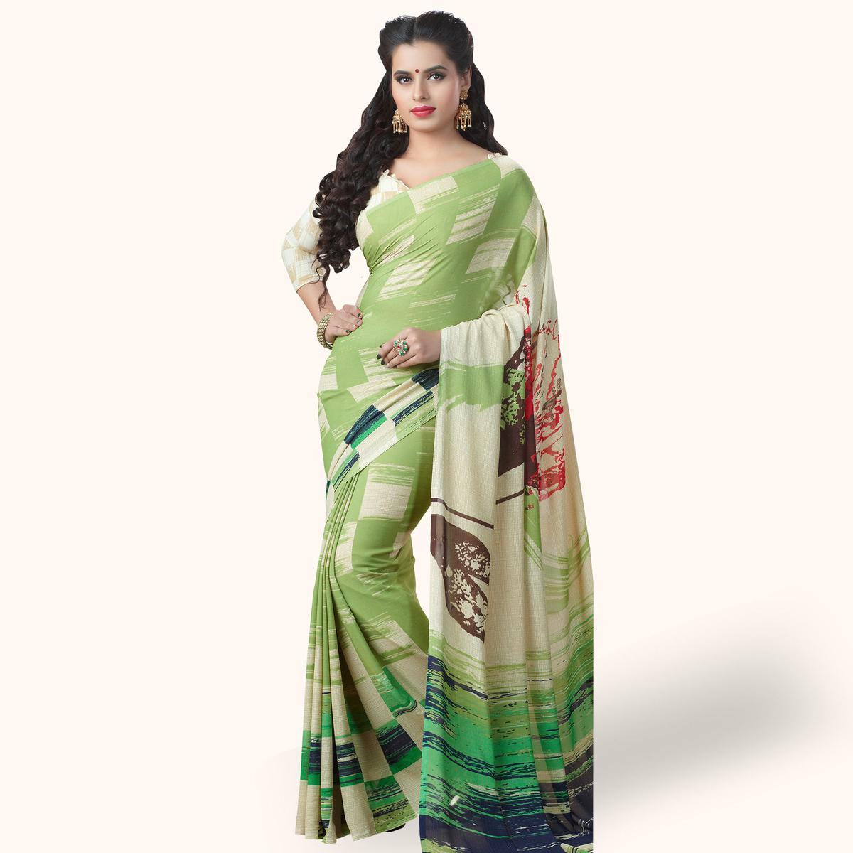 Glorious Pastel Green Colored Casual Printed Georgette Saree