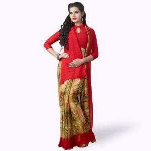 Graceful Yellow-Red Colored Casual Printed Georgette Saree
