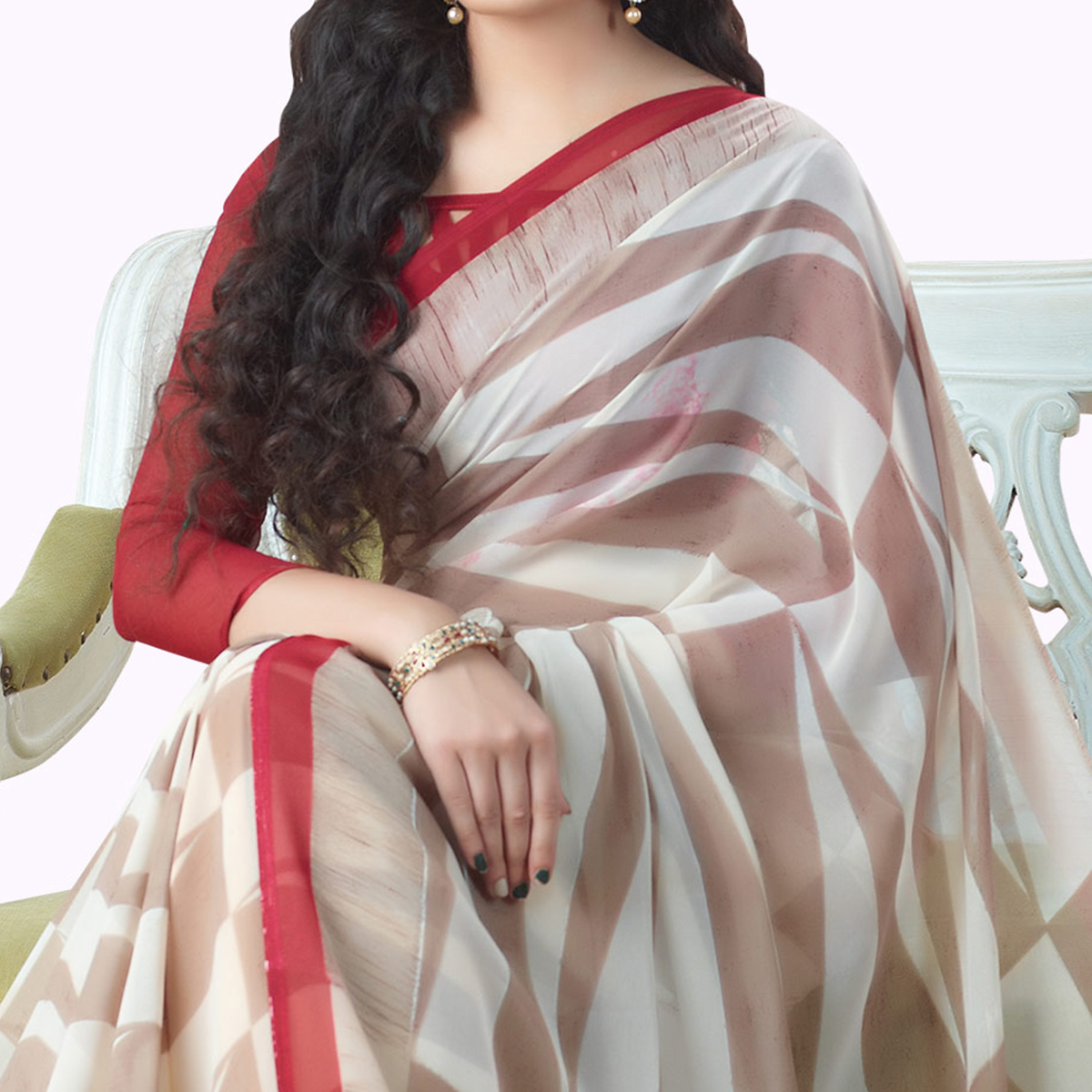 Ideal White-Light Brown Colored Casual Printed Georgette Saree