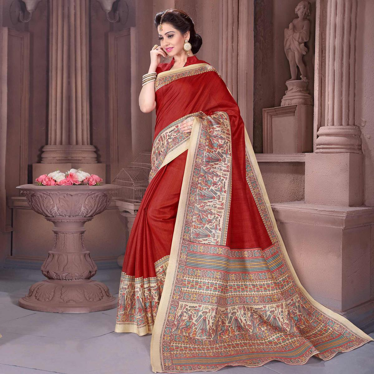 Red - Beige Saree in Madhubani Print