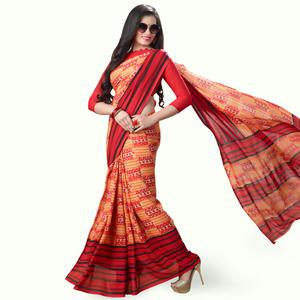 Lovely Orange Colored Casual Printed Georgette Saree