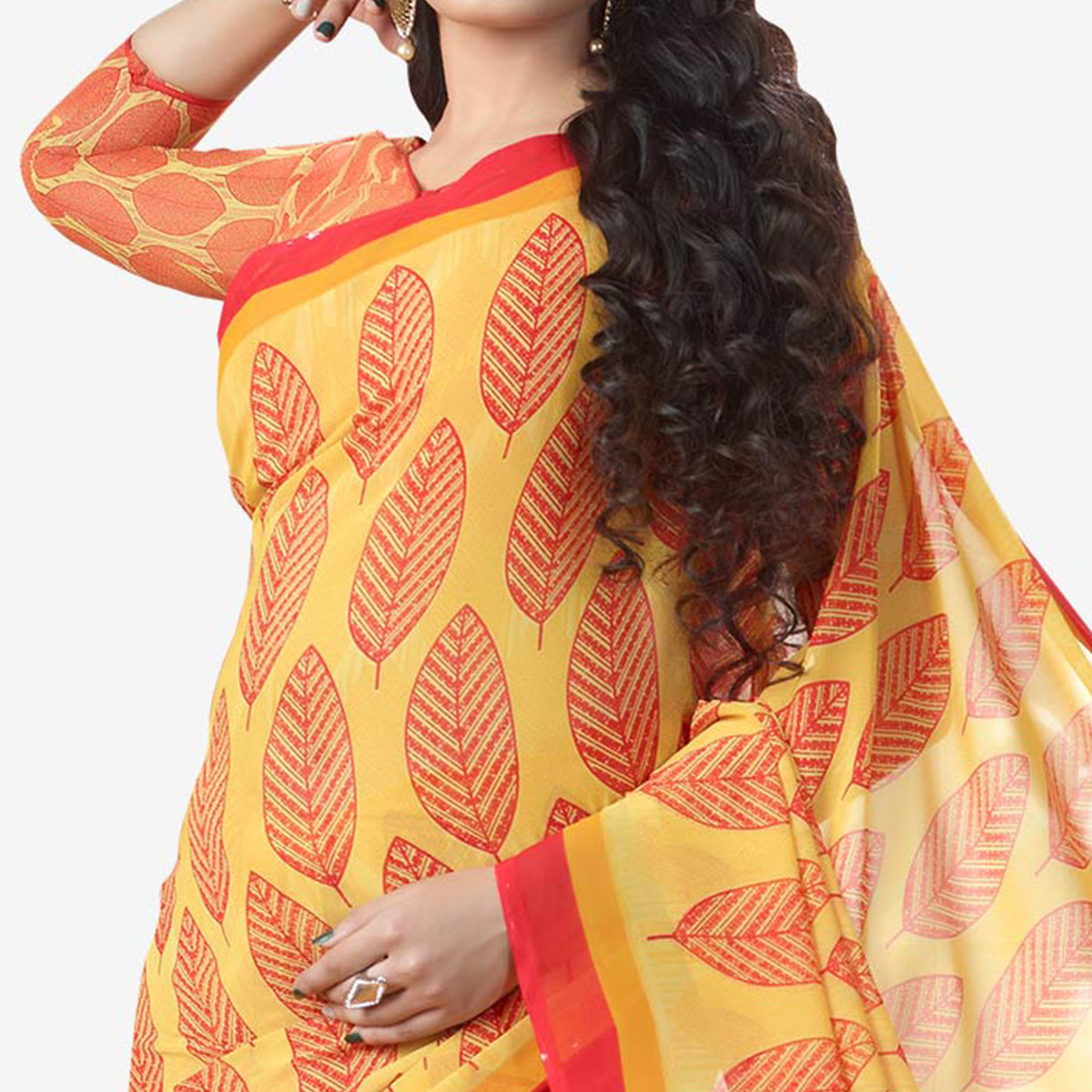 Majesty Yellow Colored Casual Printed Georgette Saree