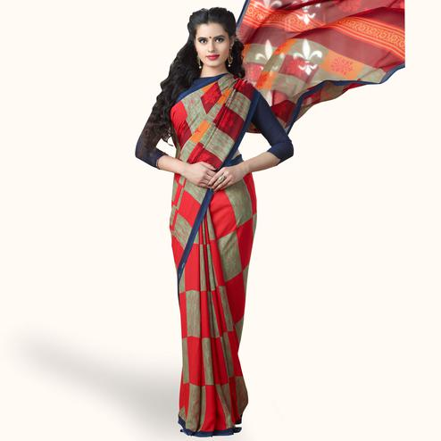 Pleasance Red-Green Colored Casual Printed Georgette Saree