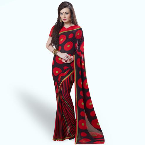Preferable Red-Black Colored Casual Printed Georgette Saree