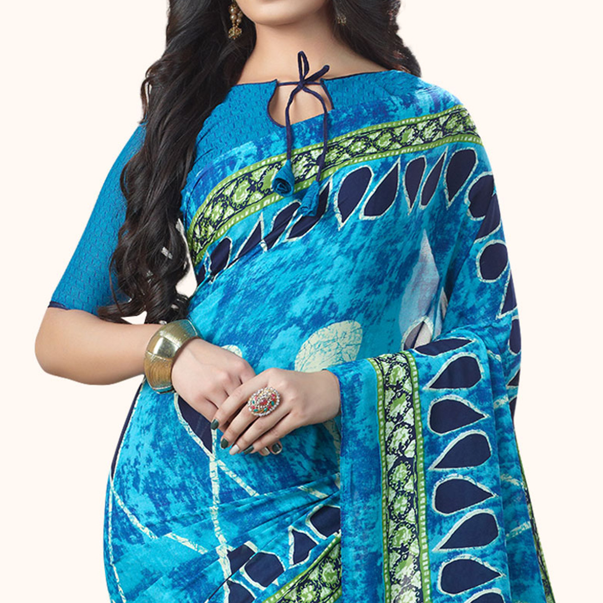 Ravishing Blue Colored Casual Printed Georgette Saree