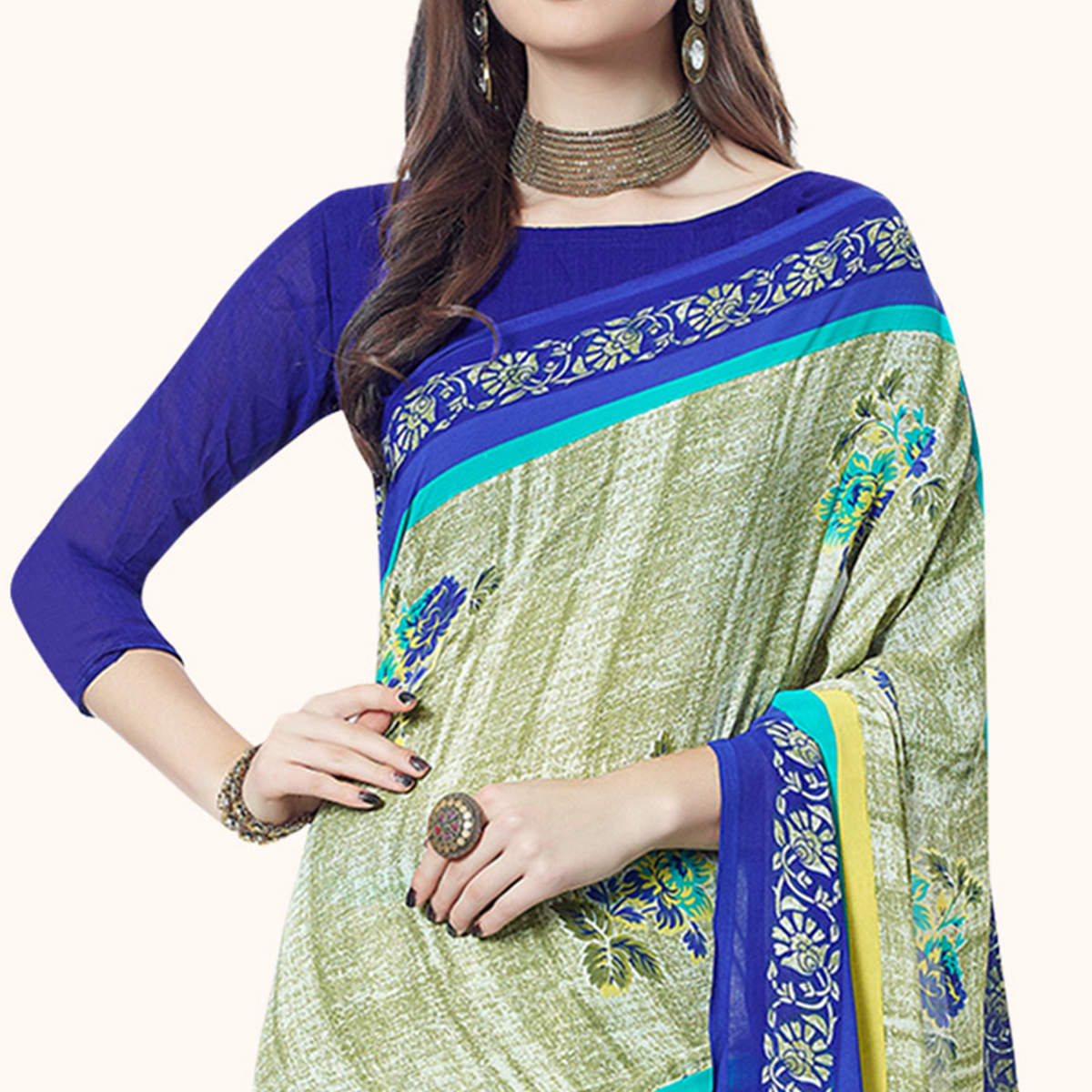 Stunning Pastel Green Colored Casual Printed Georgette Saree