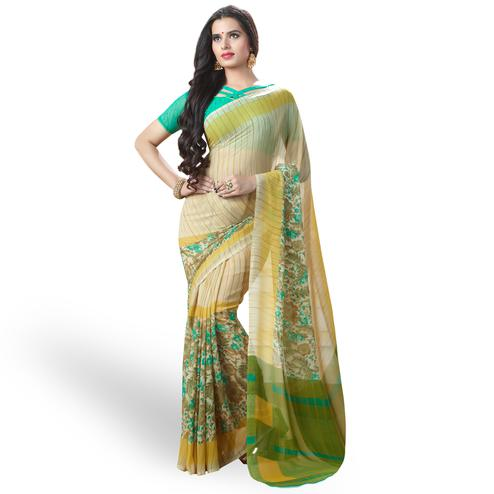 Surpassing Light Yellow Colored Casual Printed Georgette Saree