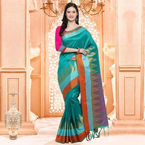 Beautiful Turquoise Blue Festive Wear Silk Woven Saree