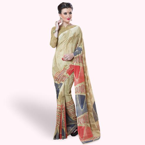 Adorning Beige Colored Casual Printed Georgette Saree