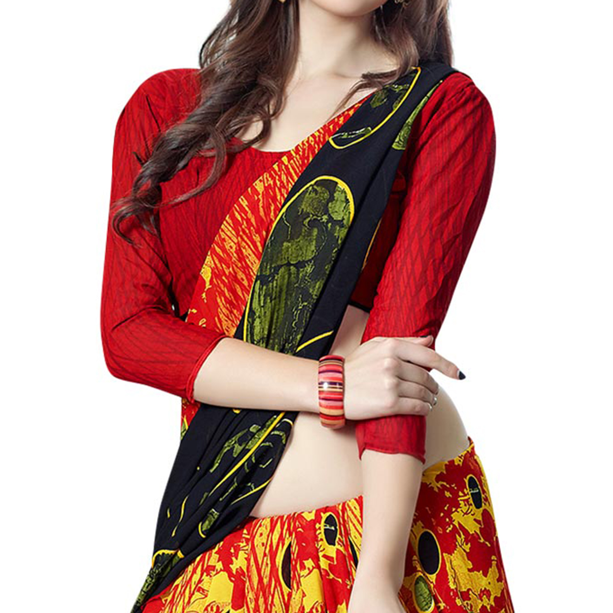 Appealing Yellow Colored Casual Printed Georgette Saree