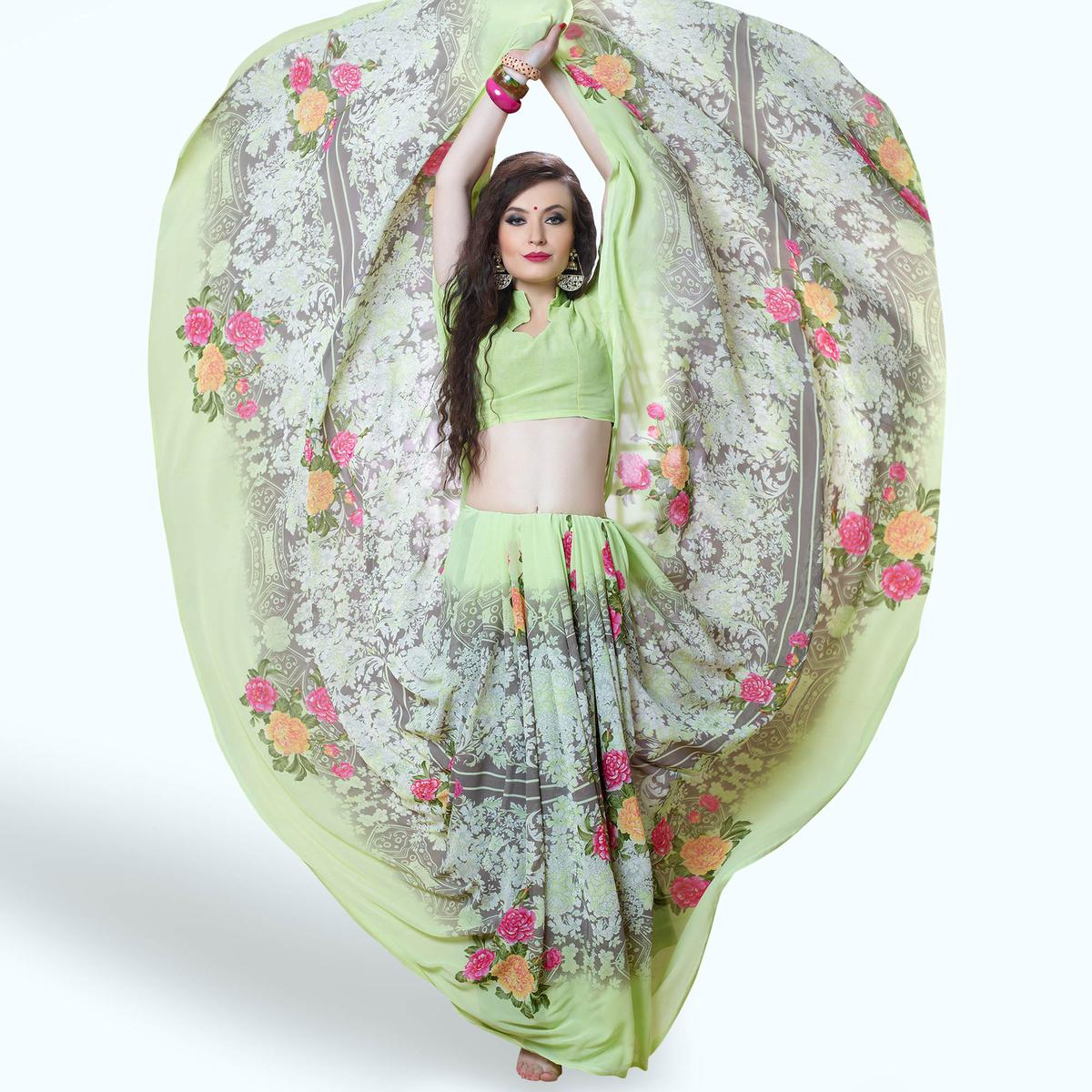 Captivating Pastel Green-Gray Colored Casual Printed Georgette Saree