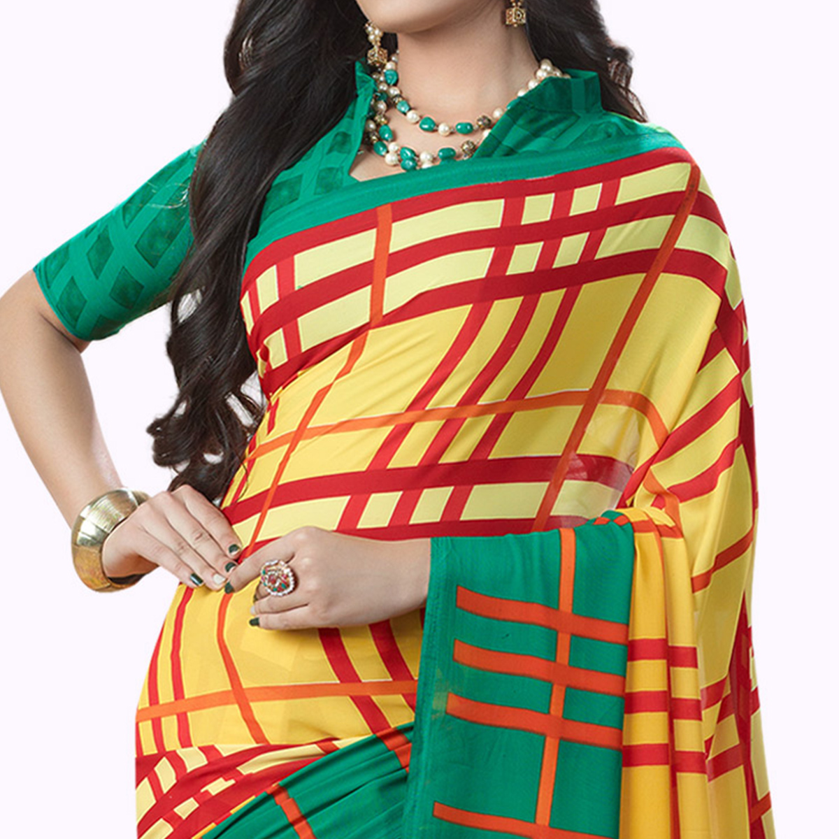 Groovy Yellow Colored Casual Printed Georgette Saree