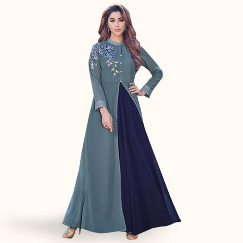 Magnetic Grey-Navy Blue Colored Party Wear Embroidered Georgette Kurti