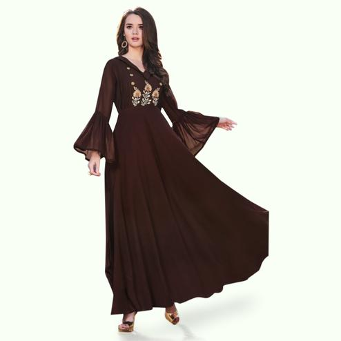 Hypnotic Dark Brown Colored Party Wear Embroidered Georgette Kurti