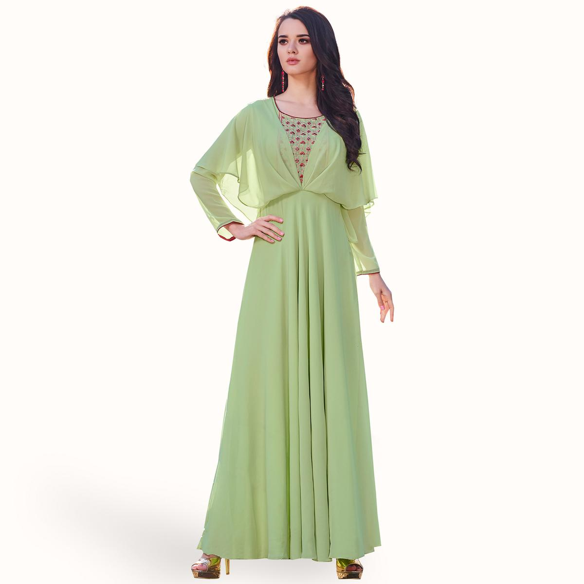 Elegant Mint Green Colored Party Wear Embroidered Georgette Kurti