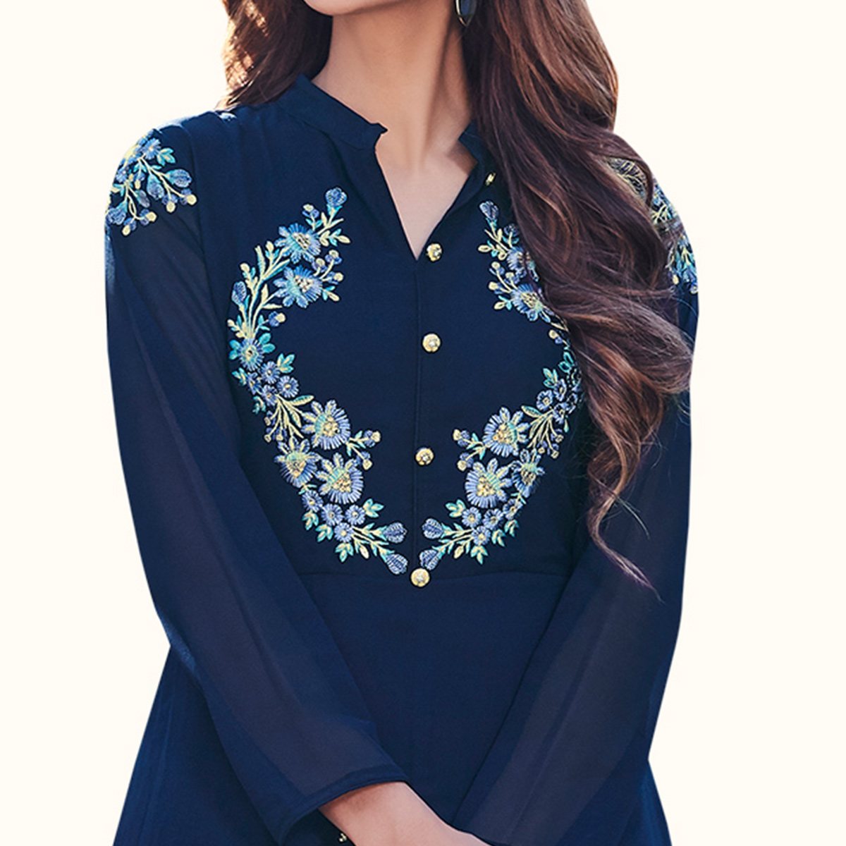 Excellent Navy Blue Colored Party Wear Embroidered Georgette Kurti
