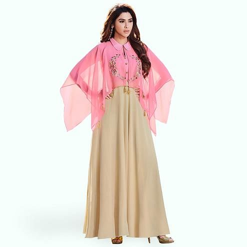 Breathtaking Cream-Pink Colored Party Wear Embroidered Georgette Kurti