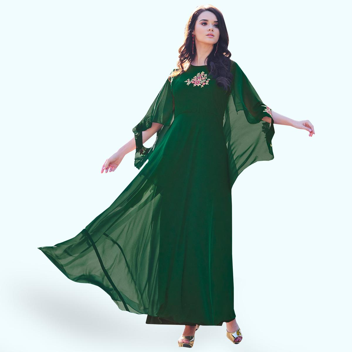 Impressive Green Colored Party Wear Embroidered Georgette Kurti