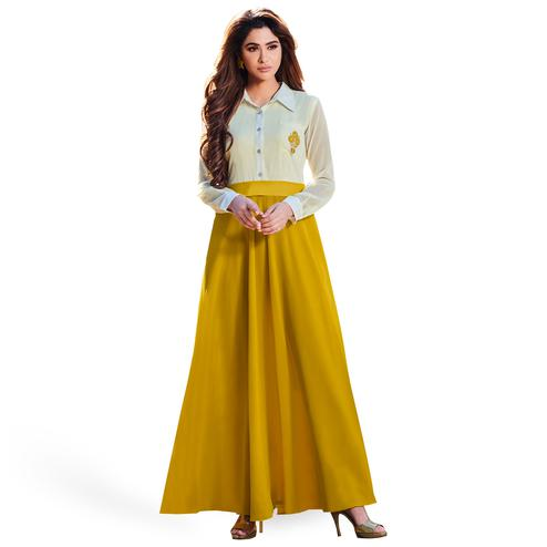 Flamboyant Off White-Mustard Yellow Colored Party Wear Embroidered Georgette Kurti