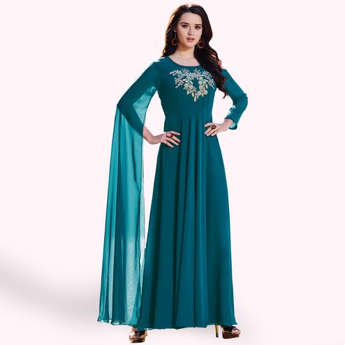 Gleaming Teal Blue Colored Party Wear Embroidered Georgette Kurti