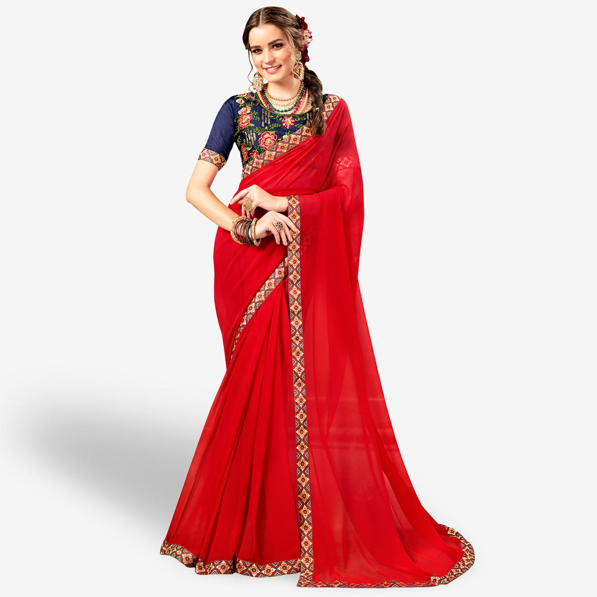 Engrossing Red Colored Party Wear Embroidered Georgette Saree