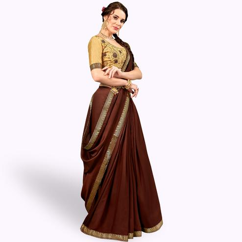 Entrancing Brown Colored Party Wear Embroidered Georgette Saree
