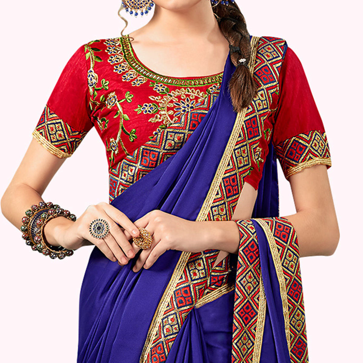 Glorious Navy Blue Colored Party Wear Embroidered Georgette Saree