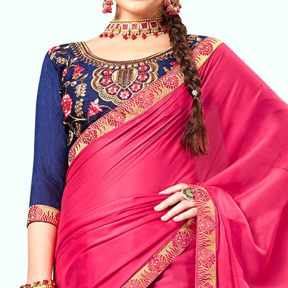 Unique Pink Colored Party Wear Embroidered Georgette Saree
