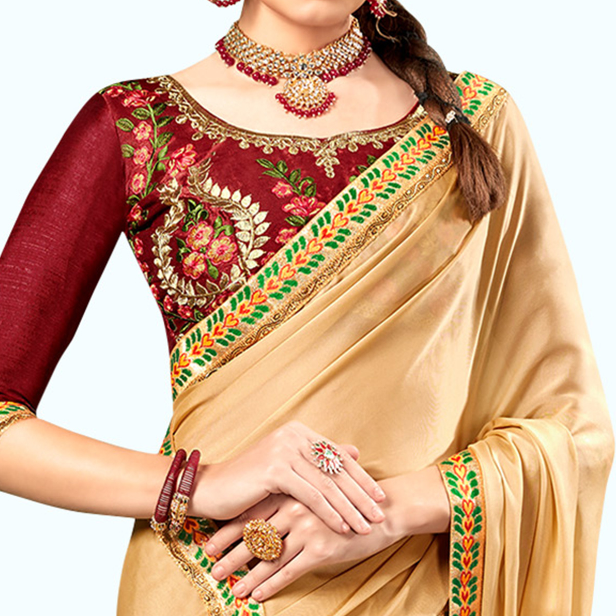 Demanding Beige Colored Party Wear Embroidered Georgette Saree