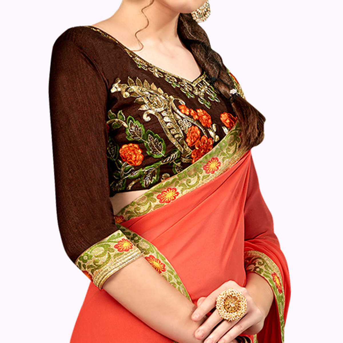 Magnetic Peach Colored Party Wear Embroidered Georgette Saree