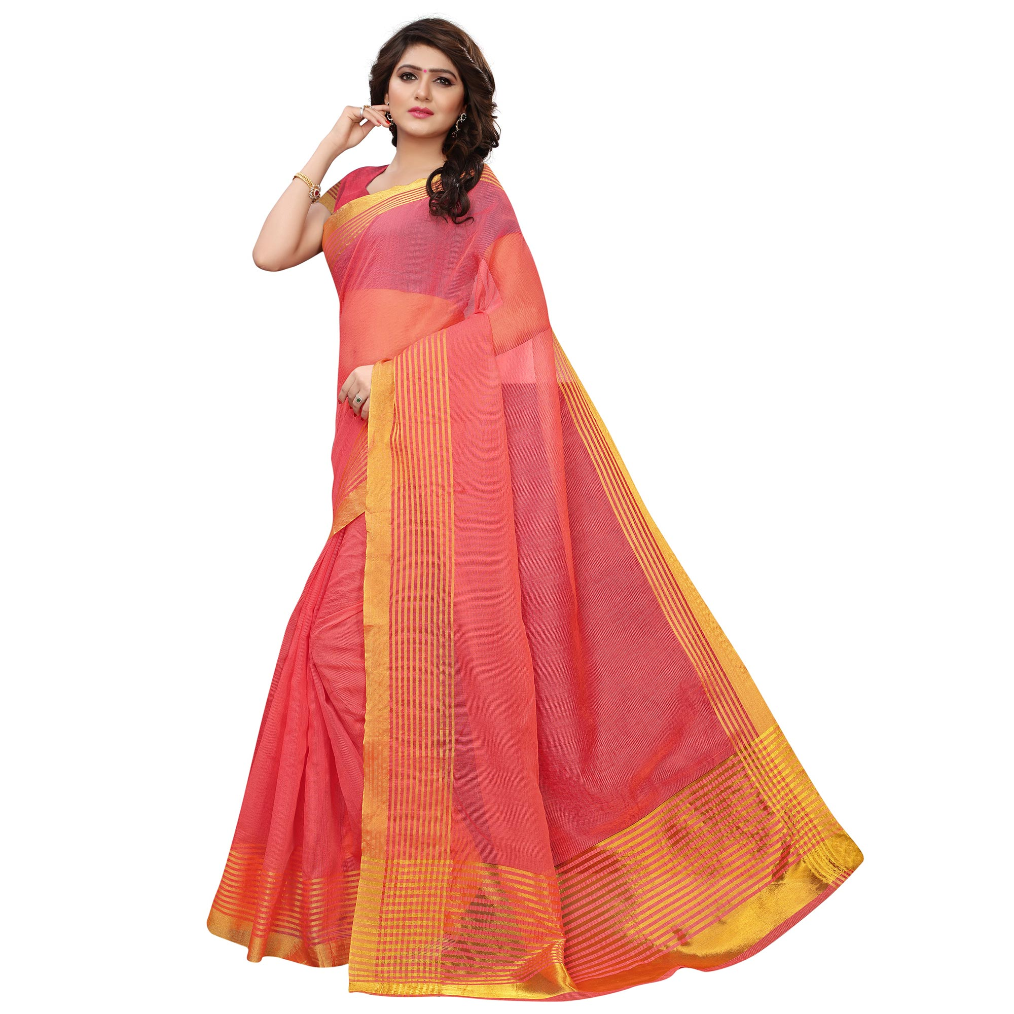 Unique Pink Colored Festive Wear Tussar Silk Saree