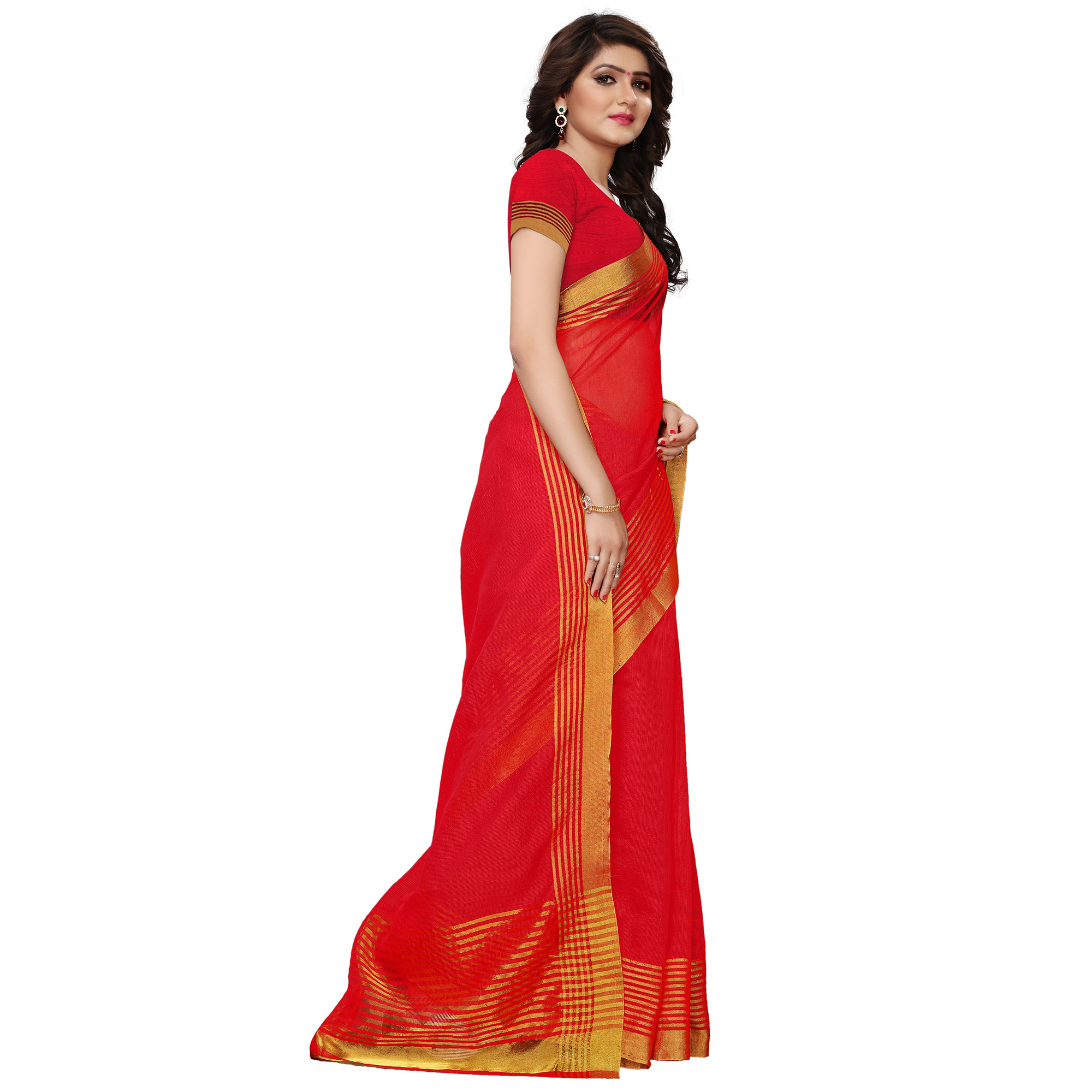 Refreshing Red Colored Festive Wear Tussar Silk Saree
