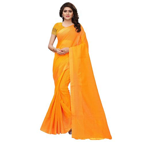 Magnetic Yellow Colored Festive Wear Tussar Silk Saree